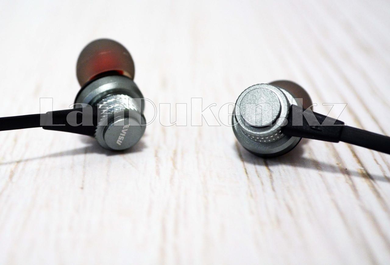 Спортивные Блютуз наушники Evisu W13 sports wireless earphones c магнитным креплением серые - фото 5