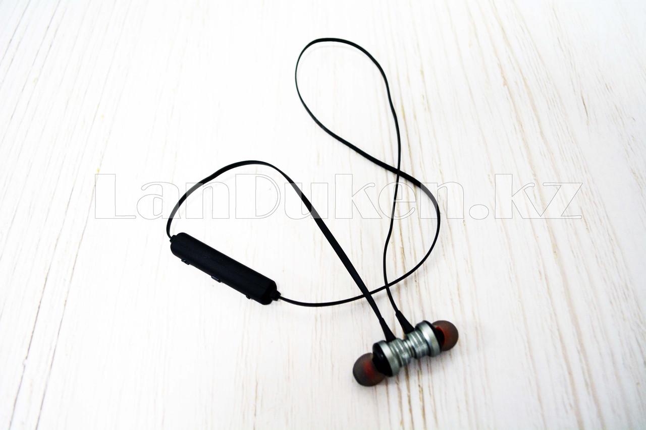 Спортивные Блютуз наушники Evisu W13 sports wireless earphones c магнитным креплением серые - фото 2
