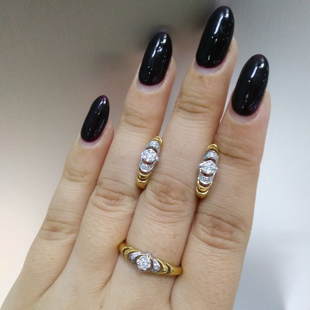 Комплект «Анжелика» с бриллиантами / жёлтое золото