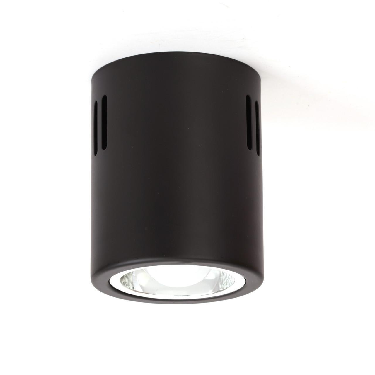 Накладной светодиодный светильник LD-7W LED  E27(в комплекте), потолочный цилиндр, черный