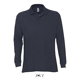Рубашка поло мужская | с длинным рукавом | Sols Star XL | Темно-синий