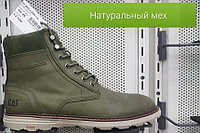 Ботинки зимние CAT хаки арт. 2595 BMCa нубук / натуральный мех размеры 40-45