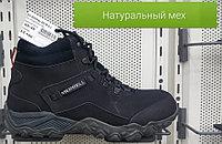 Кроссовки зимние Merrell черные арт. 0018 BBMer нубук / натуральный мех размеры 40-45