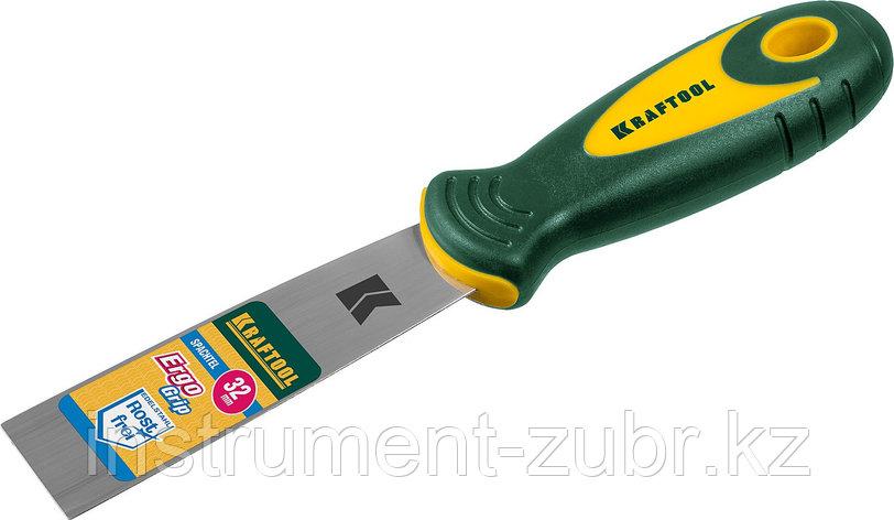 Шпательная лопатка KRAFTOOL с 2-компонент ручк, профилиров нержав полотно, 32мм                                         , фото 2