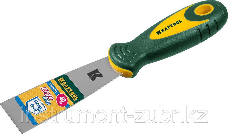 Шпательная лопатка KRAFTOOL с 2-компонент ручк, профилиров нержав полотно, 40мм                                         , фото 2