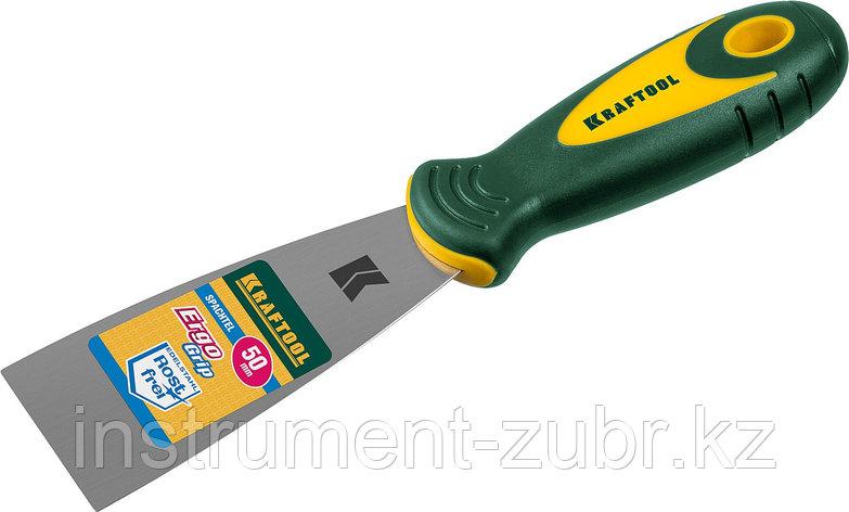 Шпательная лопатка KRAFTOOL с 2-компонент ручк, профилиров нержав полотно, 50мм                                         , фото 2