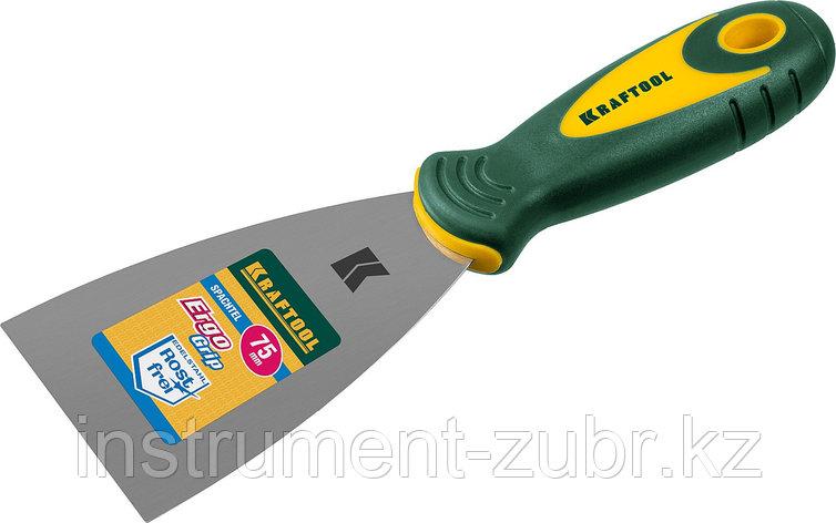 Шпательная лопатка KRAFTOOL с 2-компонент ручк, профилиров нержав полотно, 75мм                                         , фото 2