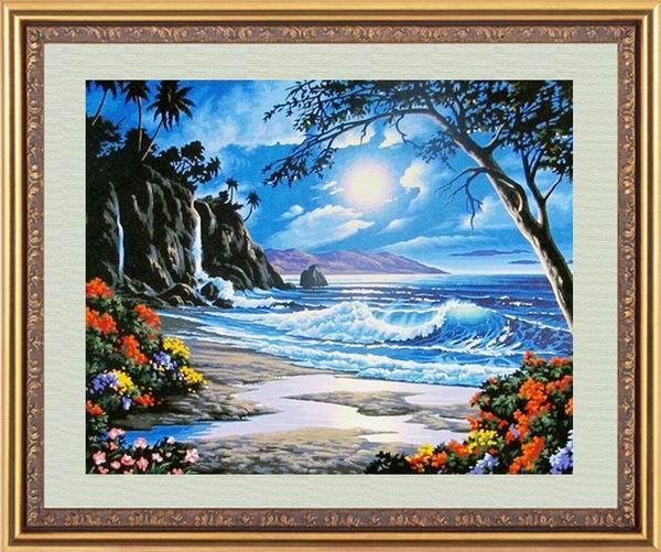 """Картины стразами """"Пляж"""" 40х50 см"""