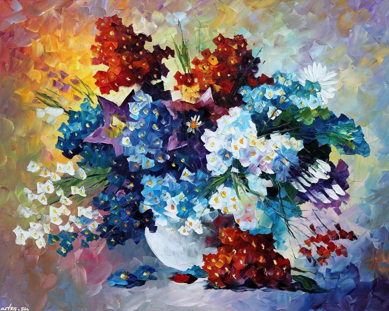 """Алмазное рисование """"Букет весенних цветов"""" Л.Афремов 40х40 см"""