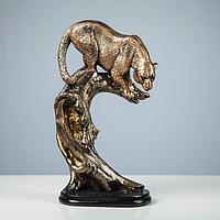 """Сувенир """"Леопард на дереве"""" бронза"""