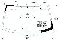 Стекло лобовое в клей HYUNDAI COUPE/TIBURON/TUSCANI 02-09