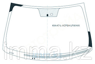 Стекло лобовое с обогревом щеток в клей KIA CADENZA/K7 4D 2010-