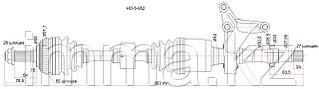 Привод в сборе FR LH HONDA CR-V RD1 96-99