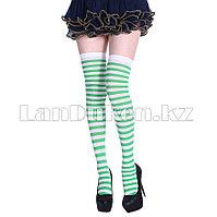 Гольфы выше колена полосатые 70 см бело-зеленые
