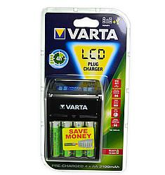 Зарядное устройство LCD Plug Charger + 4 Заряжаемые Аккумуляторные Батарейки VARTA Power (AA)