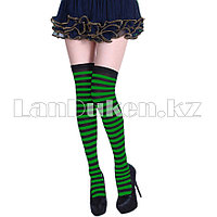 Гольфы выше колена полосатые 70 см черно-зеленые