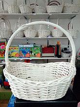 Корзина плетеная  из лозы Белая 44 см