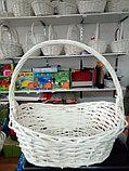 Корзина плетеная  из лозы Белая 37 см, фото 2