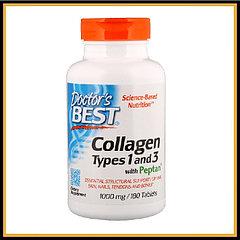 Doctor's Best, Коллаген, типы 1 и 3 с Peptan, 180 таблеток