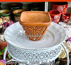 Керамический горшок для цветов (без поддона). Объем: 1л