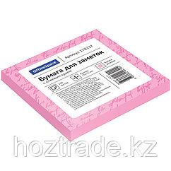 Блок для записи с клейким краем 75*75 100л, розовый OfficeSpace