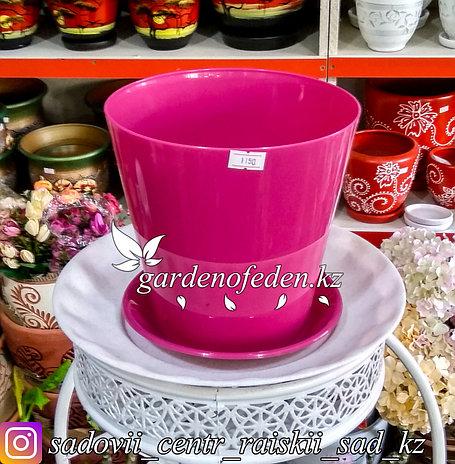 """Пластиковое кашпо FORM-PLASTIC """"Вулкано"""". Цвет: Розовый. Объем: 2.5л, фото 2"""
