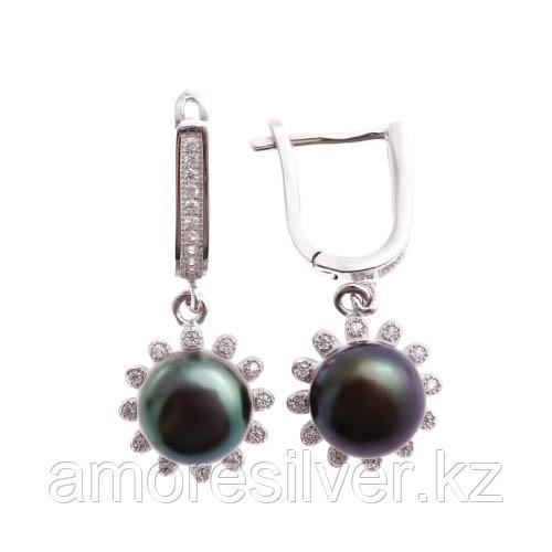 Серьги Teosa серебро с родием, фианит, флора PRLJE00799-B