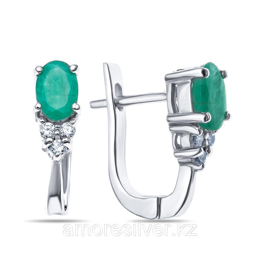 """Серьги Teosa серебро с родием, изумруд фианит, """"halo"""" E-DRGR00765-EM"""