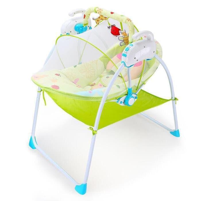 Электронные качели, шезлонг Baby Cradle, голубой
