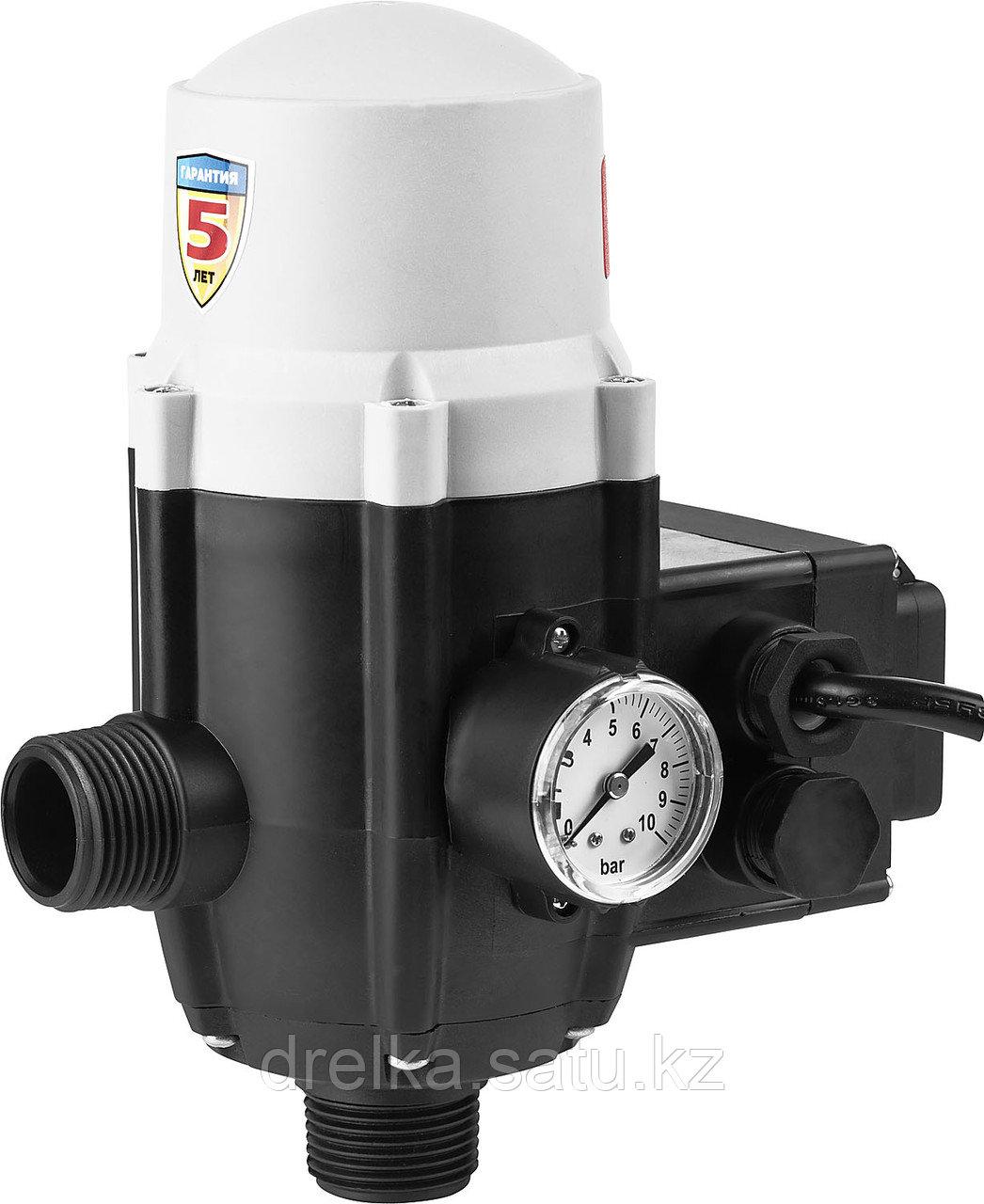 Блок автоматики ЗУБР ЗБА, давление срабатывания 1,5 Атм ,макс мощность подключаемых насосов 1,1 кВт