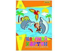 """Картон А4 """"Дельфины"""" мелованный, 10 листов, цветной"""