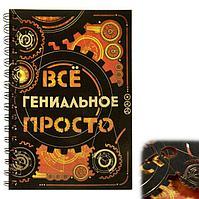 """Ежедневник на гребне """"Всё гениальное просто"""", твёрдая обложка, А5, 80 листов"""