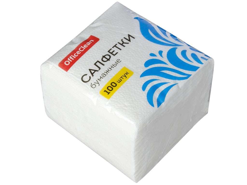Салфетки OfficeClean, 1-слойные, 100 штук в упаковке., белые