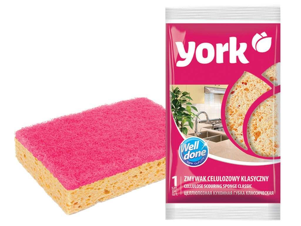 Губка для мытья посуды York, целлюлозная, 11,7х2,5 см, 1шт.