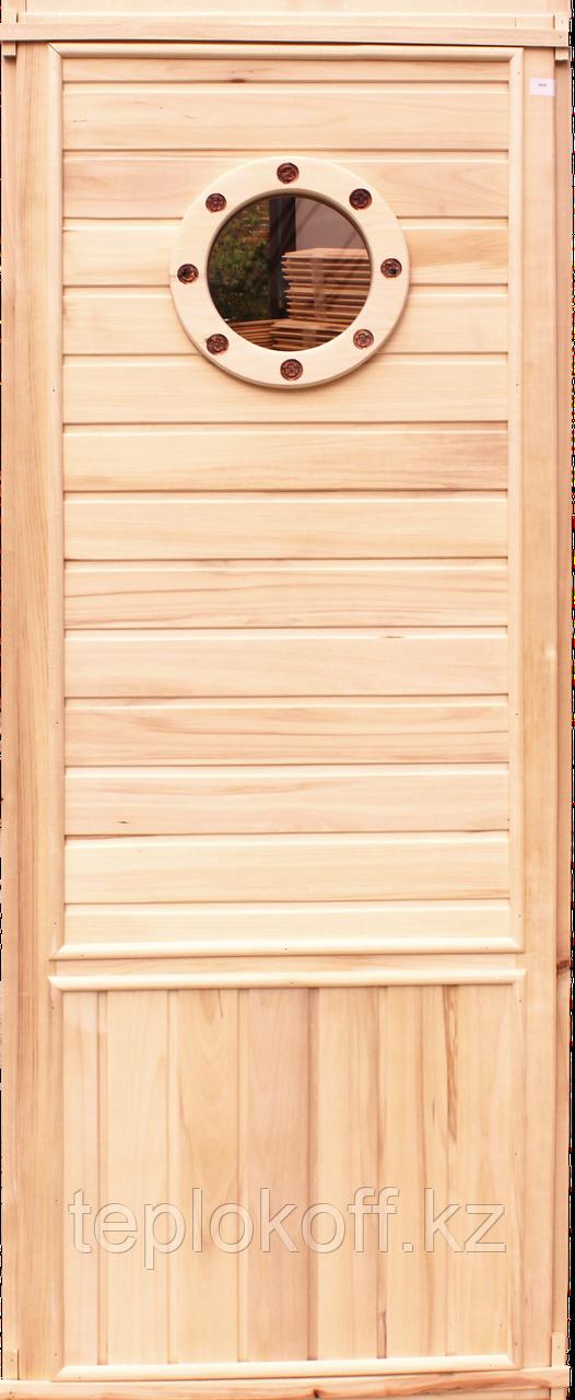 "Дверь банная  ""Иллюминатор"" осина 1800х700х65 А"