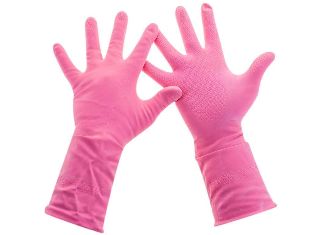 """Перчатки резиновые Paclan """"Practi.Comfort"""", розовые, размер М"""