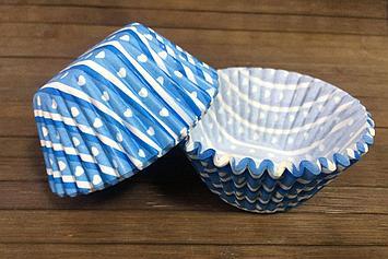 Формы бумажные для кексов «Голубые сердечки»
