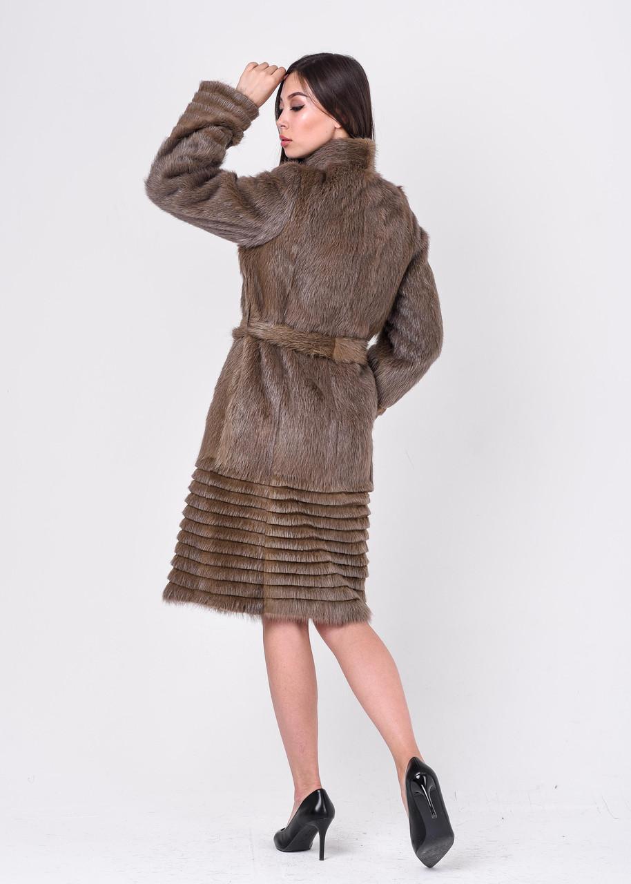 Женская шуба из стриженой нутрии светло коричневого цвета КАКАО - фото 3