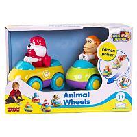 Набор из 2 зверушек на колесиках: обезьянка и бульдог, Hap-p-Kid, 218G