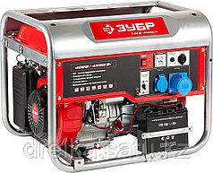 Бензиновый электрогенератор ЗУБР ЗЭСБ-4500-Э, двигатель 4-х тактный, ручной и электрический пуск, 4500/4000Вт