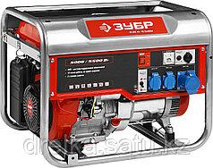 Бензиновый электрогенератор ЗУБР ЗЭСБ-5500, двигатель 4-х тактный, ручной пуск, 5500/5000Вт, 220/12В