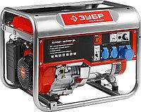 Бензиновый электрогенератор ЗУБР ЗЭСБ-6200, двигатель 4-х тактный, ручной пуск, 6200/5700Вт, 220/12В