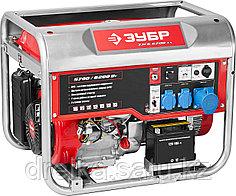Бензиновый электрогенератор ЗУБР ЗЭСБ-6200-ЭА, двигатель 4-х тактный, ручной и электрический пуск