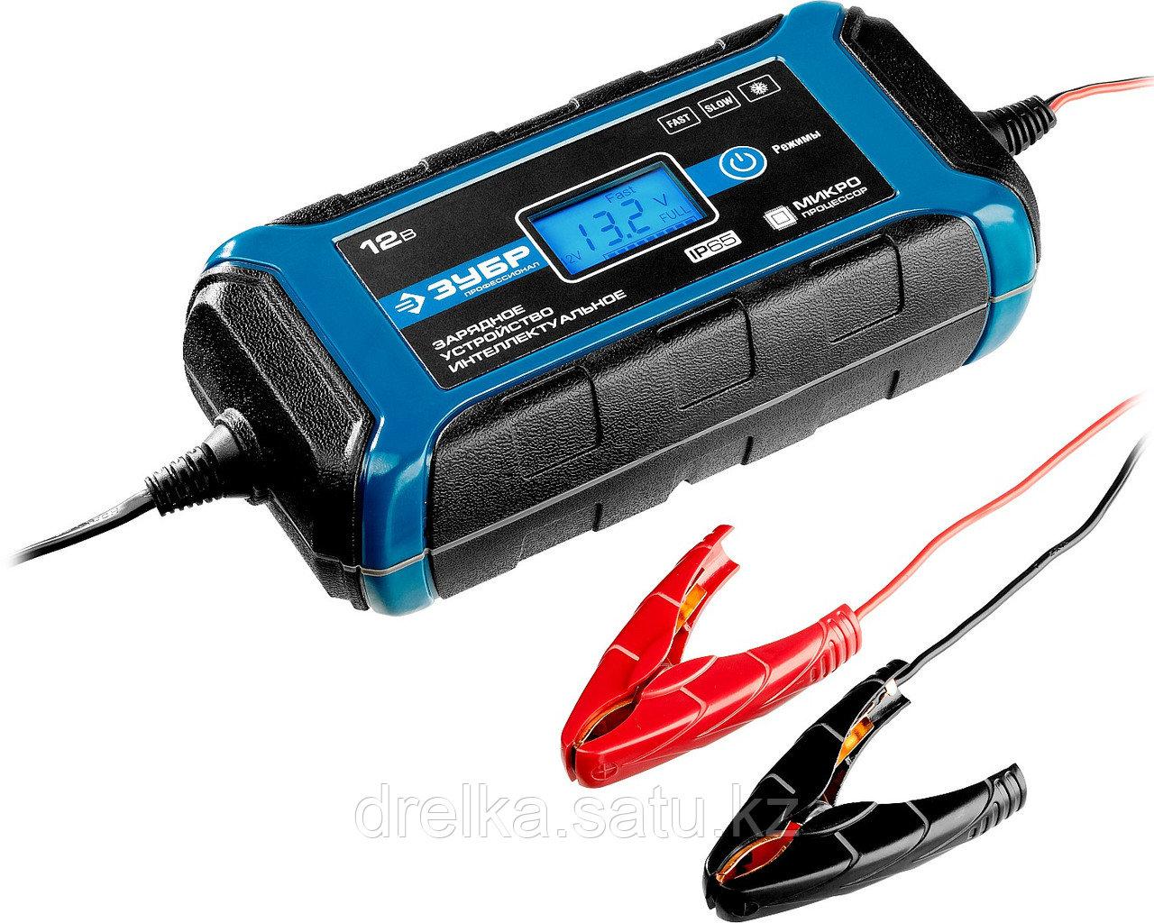 Зарядное устройство для автомобильного аккумулятора ЗУБР 59303, ПРОФЕССИОНАЛ, 12В, 8А, автомат, IP65, AGM.