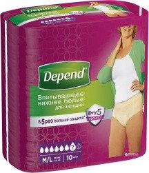 Впитывающее женское нижнее белье Depend Pants  M/L Norm 10 шт, фото 2