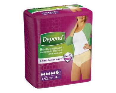 Впитывающее нижнее белье Depend Pants (2) FEM L/XL Norm 9x6 RU, фото 2