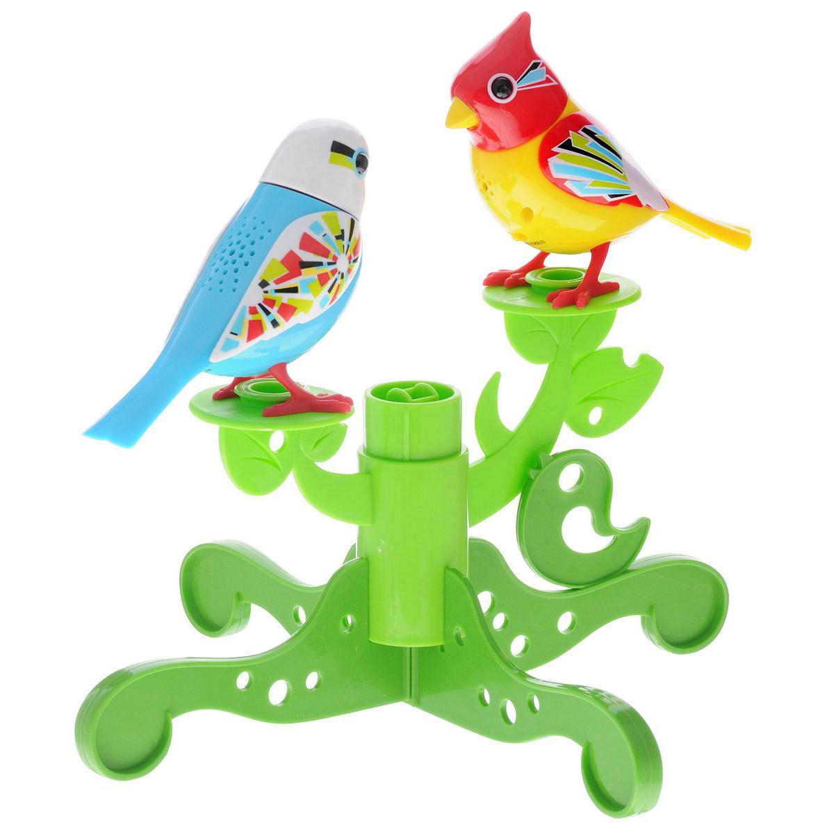 Две птички с деревом, голубая с белой головой и желтая с красной головой 88237-2