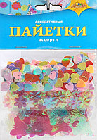 """Материал декоративный Апплика """"Пайетки"""", ассорти, 3 вида,Бабочки, цветочки, сердечки"""