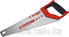 Ножовка универсальная (пила) ЗУБР МОЛНИЯ-7 350 мм, 7 TPI, закалка, рез вдоль и поперек волокон