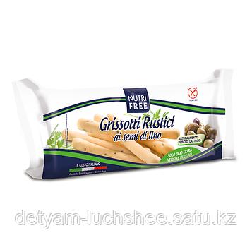 Безглютеновые хлебные палочки со льном Grissotti Rustici ai semi di lino Nutrifree 100г.